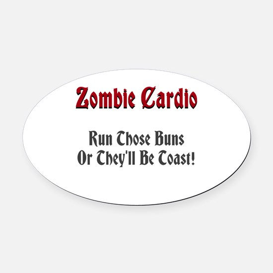 Zombie Cardio Oval Car Magnet