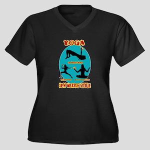 YOGA NEW MEX Women's Plus Size V-Neck Dark T-Shirt