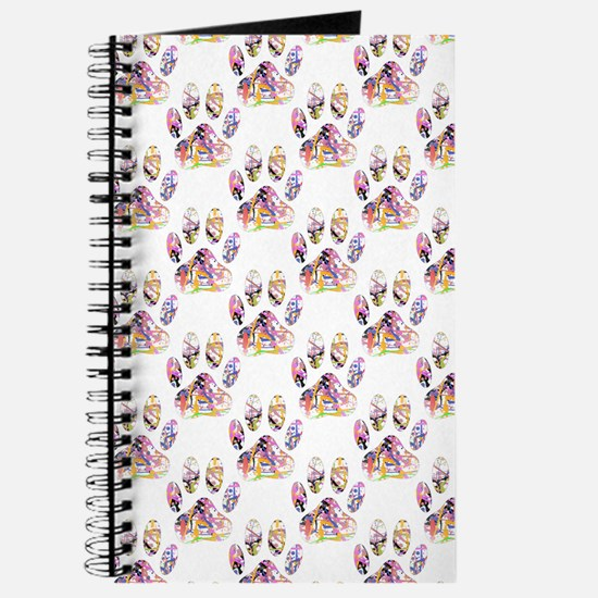 Paint Splatter Dog Paw Print Pattern Journal