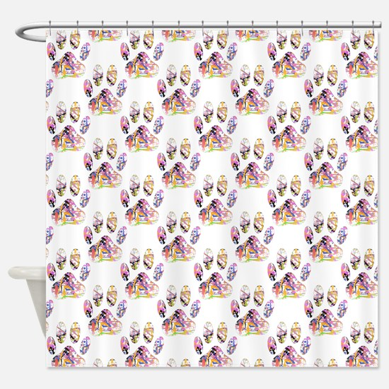 Paint Splatter Dog Paw Print Patter Shower Curtain