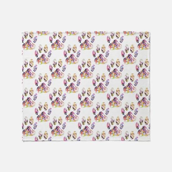 Paint Splatter Dog Paw Print Pattern Throw Blanket
