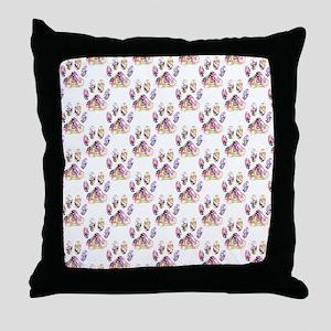 Paint Splatter Dog Paw Print Pattern Throw Pillow