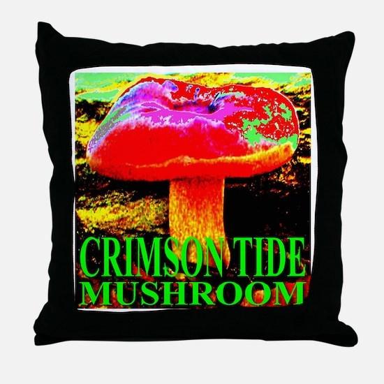 Crimson Tide Mushroom Throw Pillow