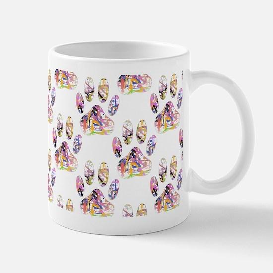 Paint Splatter Dog Paw Print Pattern Mugs