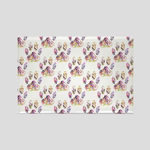 Paint Splatter Dog Paw Print Pattern Magnets