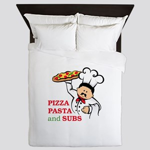 PIZZA PASTA AND SUBS Queen Duvet