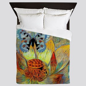 artistic flower and butterfly Queen Duvet