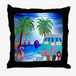 Bikini beach camper Throw Pillow