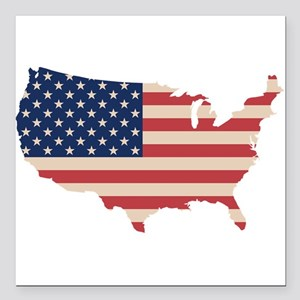 "United States Flag Square Car Magnet 3"" x 3"""
