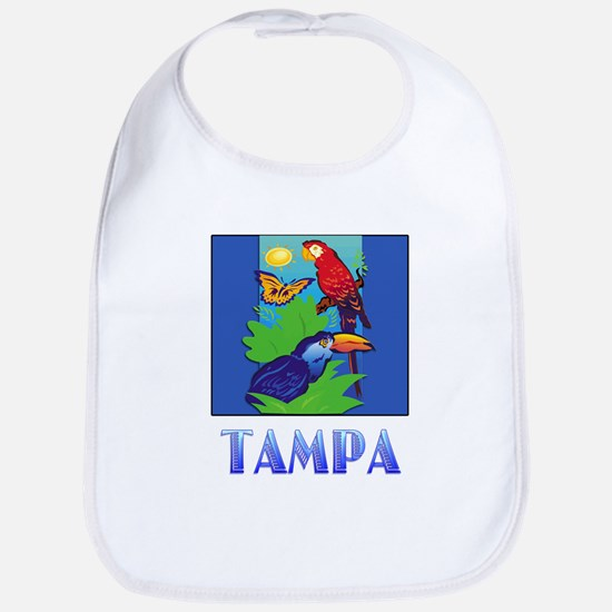Macaw, Parrot, Butterfly, Jungle TAMPA Bib