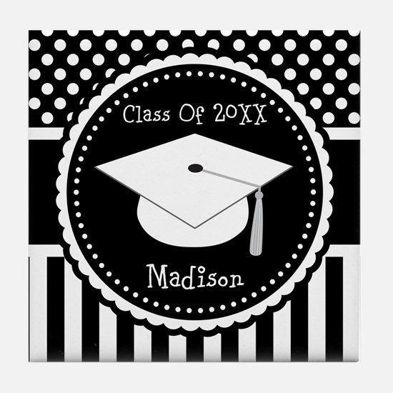 Graduation Personalized Dotted Gift Tile Coaster