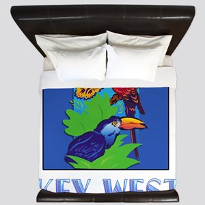 Macaw, Parrot, Butterfly, Jungle KEY W King Duvet