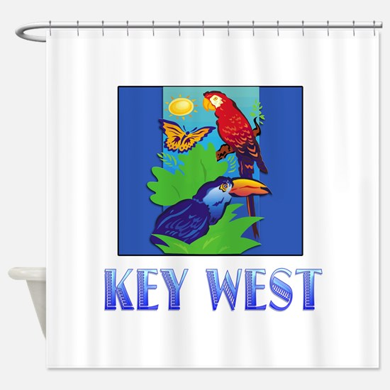 Macaw, Parrot, Butterfly, Jungle K Shower Curtain