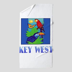 Macaw, Parrot, Butterfly, Jungle KEY Beach Towel