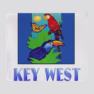 Macaw, Parrot, Butterfly, Jungle KE Throw Blanket