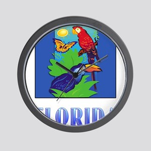 FLORIDA Macaw, Parrot, Butterfly, Jung Wall Clock