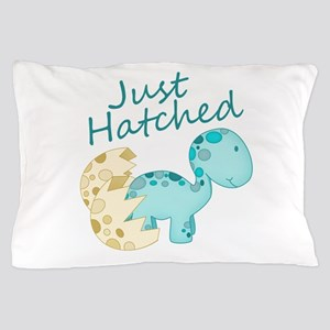 Just Hatched Blue Baby Dinosaur Pillow Case