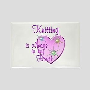 Knitting Heart Rectangle Magnet