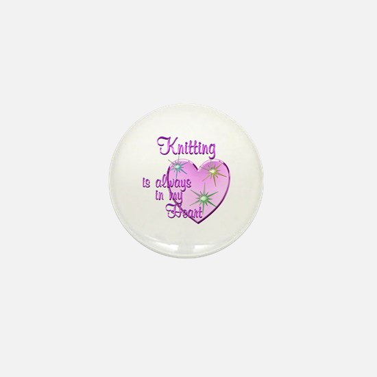 Knitting Heart Mini Button