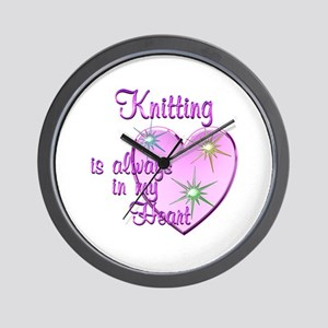Knitting Heart Wall Clock