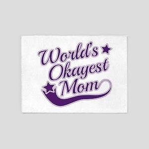 World's Okayest Mom Purple 5'x7'Area Rug