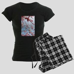 blue cherry blossoms flowers Women's Dark Pajamas