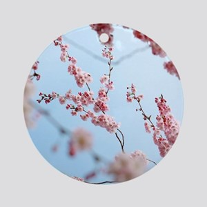 blue cherry blossoms flowers Ornament (Round)