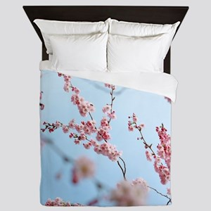 blue cherry blossoms flowers Queen Duvet