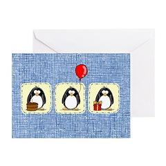 3 Party Penguins Birthday Invitations (Pk of 10)