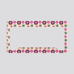 Beautiful Girly Floral Tile P License Plate Holder