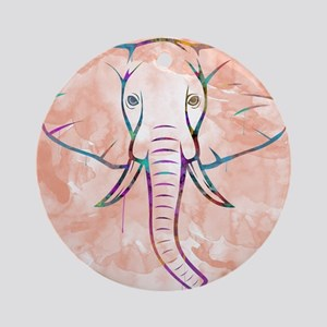 Elephant Watercolor Round Ornament
