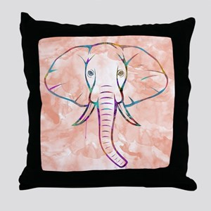 Elephant Watercolor Throw Pillow