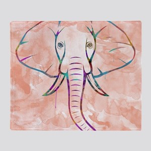 Elephant Watercolor Throw Blanket