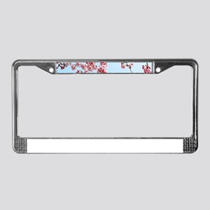 blue cherry blossoms flowers License Plate Frame