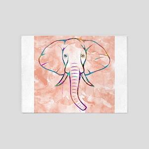 Elephant Watercolor 5'x7'Area Rug