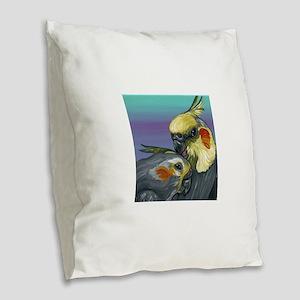 Cockatiels Burlap Throw Pillow