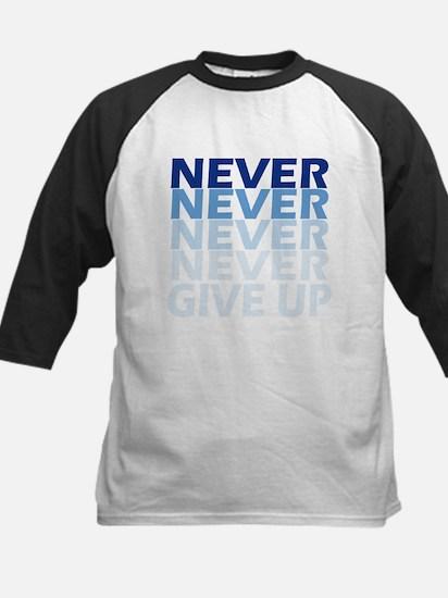 Never Give Up Blue Dark Baseball Jersey