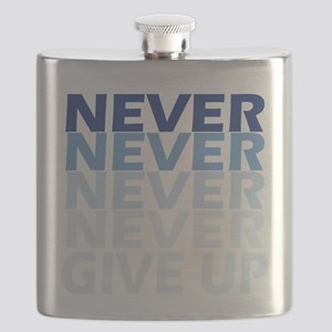 Never Give Up Blue Dark Flask