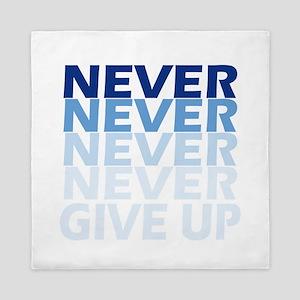 Never Give Up Blue Dark Queen Duvet