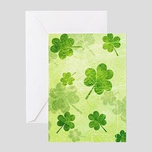Green Shamrock Pattern Greeting Cards