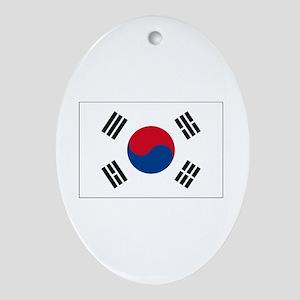 South Korea Flag Oval Ornament