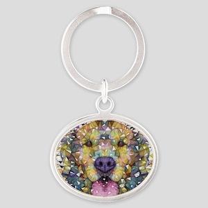 Rainbow Dog Oval Keychain