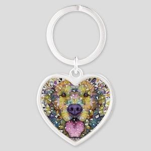 Rainbow Dog Heart Keychain