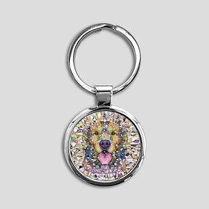 Rainbow Dog Round Keychain