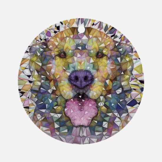 Rainbow Dog Round Ornament