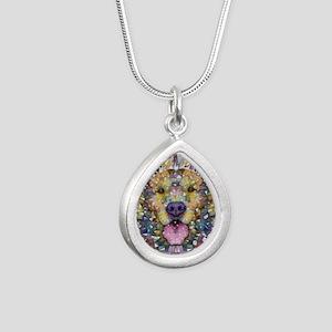 Rainbow Dog Silver Teardrop Necklace
