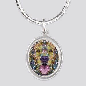 Rainbow Dog Silver Oval Necklace