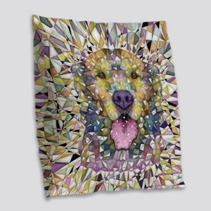 Rainbow Dog Burlap Throw Pillow