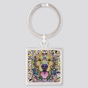 Rainbow Dog Square Keychain