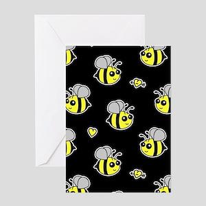 Bumble Bee Pattern Black Greeting Card